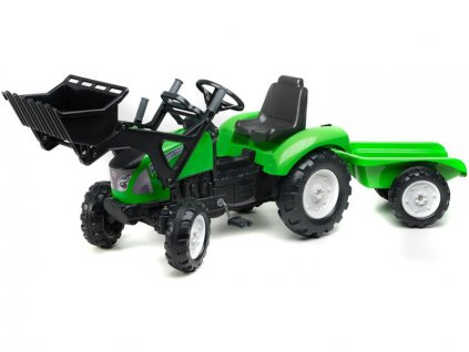FALK - Šlapací traktor Garden Master s nakladačem a vlečkou zelený