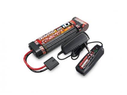 Traxxas sada nabíječe NiMH 2A AC a baterie NiMH 3000mAh 8.4V 7 čl. plochá ID