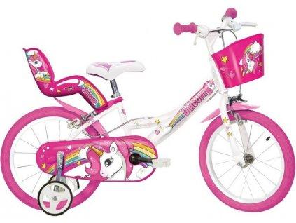 "DINO Bikes - Dětské kolo 16"" Jednorožec se sedačko"