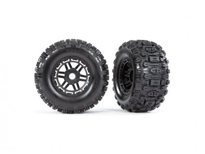 "Traxxas kolo 2.8/3.6"", black wheels, Sledgehammer tires (2)"