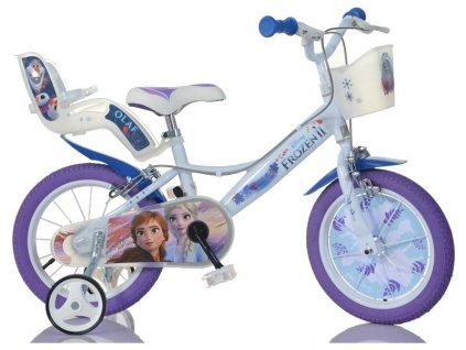 """DINO Bikes - Dětské kolo 16"""" Frozen 2 se sedačkou pro panenku a košíkem"""