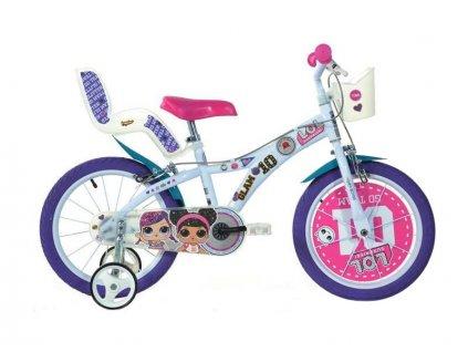 """DINO Bikes - Dětské kolo 16"""" LOL Surprise se sedačkou pro panenku a košíkem"""