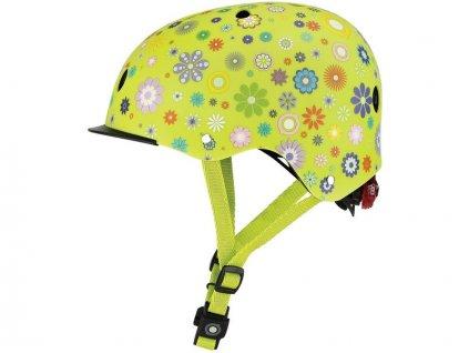 Globber - Dětská přilba Elite Lights Lime Green Flowers XS/S