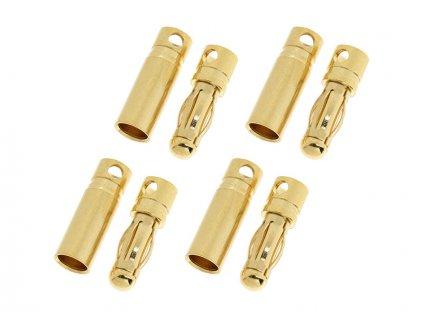 Konektor zlacený 4.0mm krátký (4 páry)