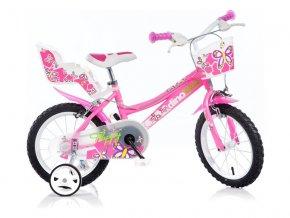 "DINO Bikes - Dětské kolo 14"" růžové"