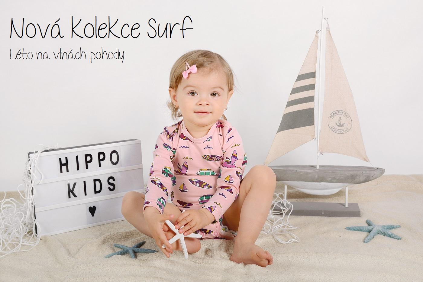 Nová letní kolekce Hippokids Surf. Objevte kolekci oblečení pro miminka, kojenecké body, kojenecké kraťasy, kojenecký letní set pro miminka a tričko pro miminka s letním motivem Surf.
