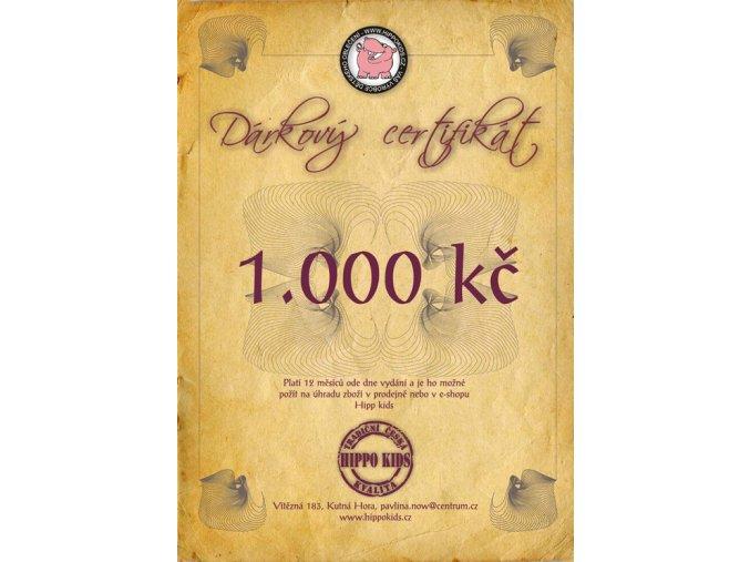 Dárkový certifikát 1. 000 Kč