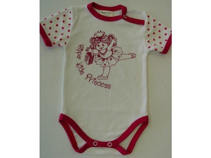 Kojenecké body s krátkým rukávem pro miminka Princess Pink