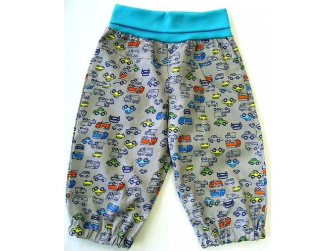 Dětské letní plátěné kalhoty Autíčko