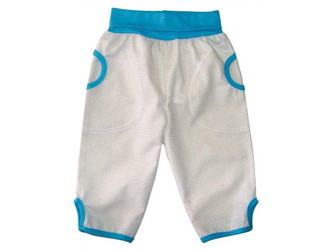 Dětské letní plátěné kalhoty kostka krémová