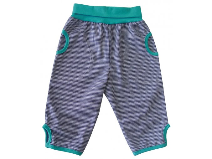 Dětské letní plátěné kalhoty kostka modrá
