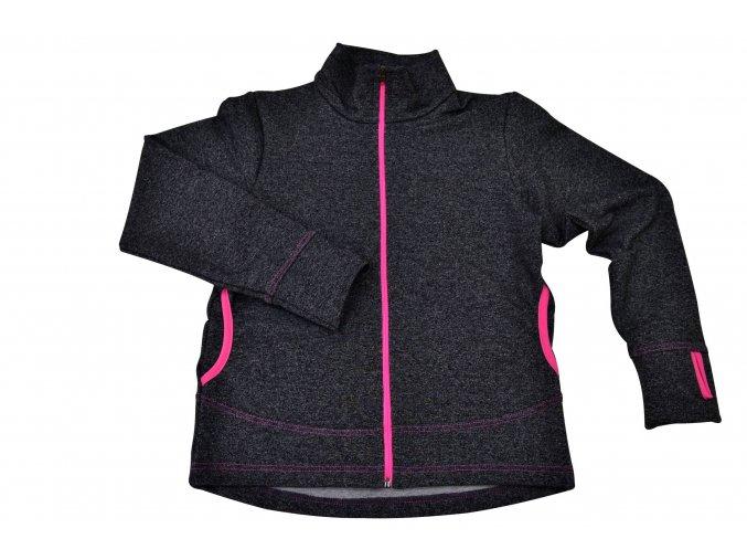 funkční mikina šedý melír neon pink