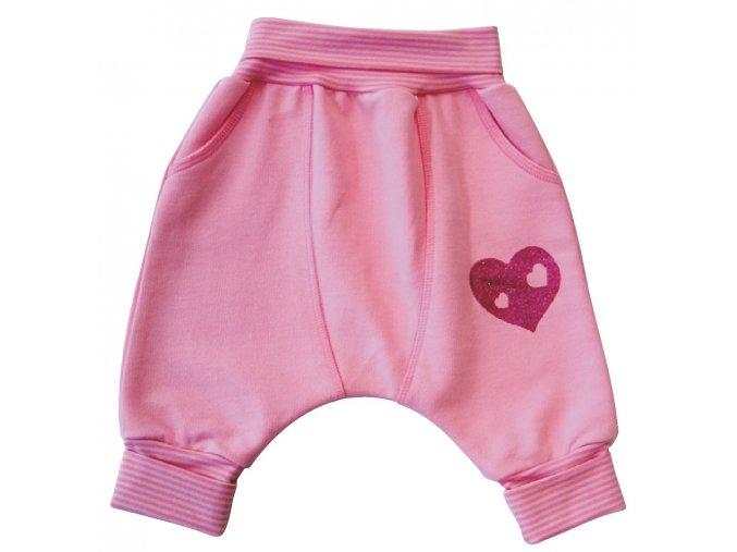Kojenecké tepláčky se sníženým sedem Pearl Růžové