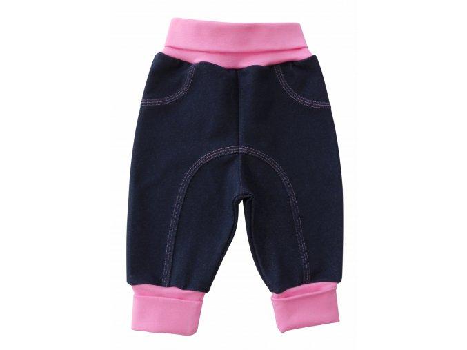 kojenecké tepláčky jeans růžové
