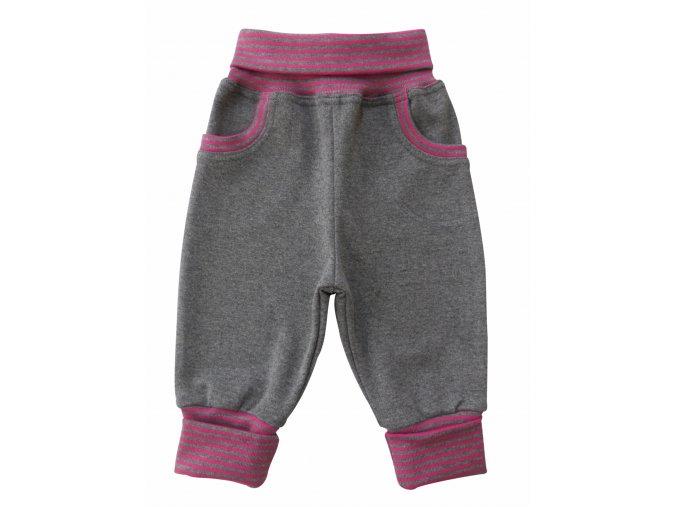 kojenecké tepláčky šedý melír pink
