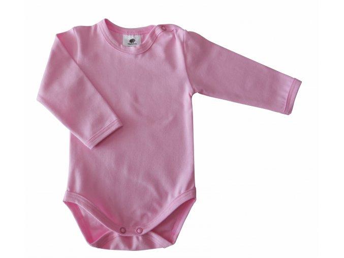 oblečení pro miminka, kojenecké oblečení, kojenecké body, body s dlouhým rukávem, jednobarevné, růžové