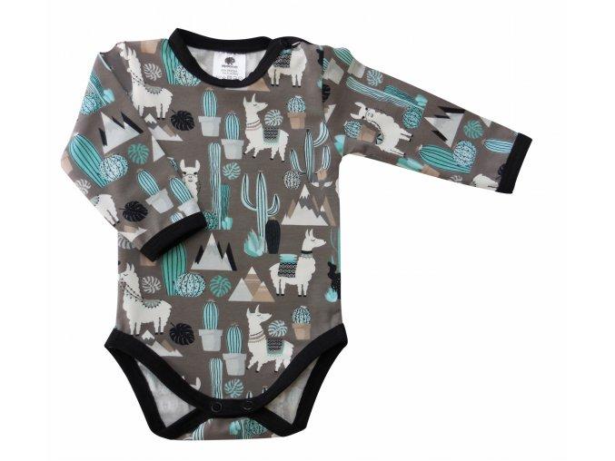 oblečení pro miminka, kojenecké oblečení, kojenecké body, bodycko, Hippokids, lama hnědá s dlouhým rukávem