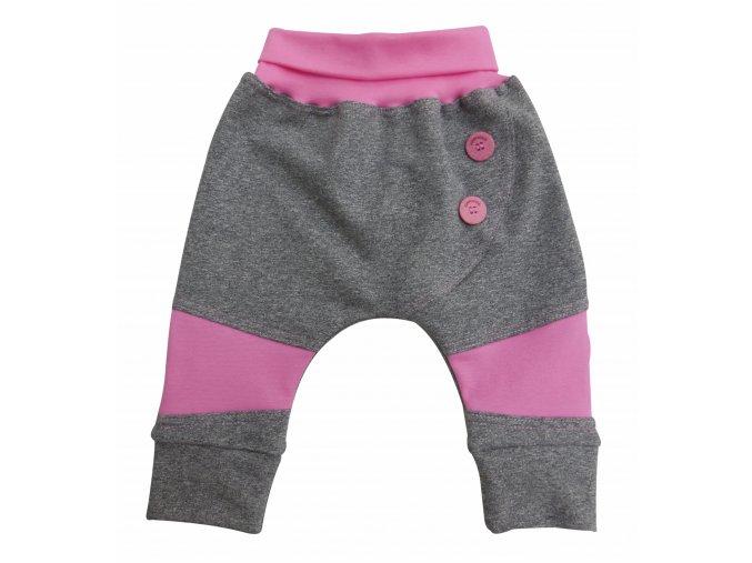 kojenecké tepláčky Knoflíček růžové