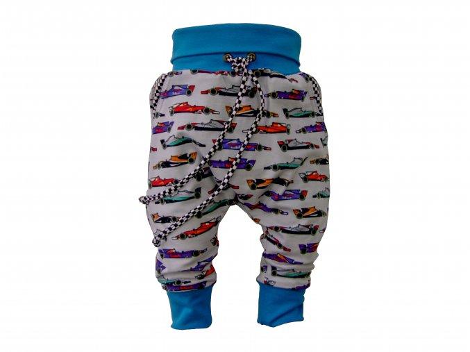 oblečení pro miminka, kojenecké oblečení, polodupačky, rostoucí tepláčky, Hippokids, tyrkys, motiv formule