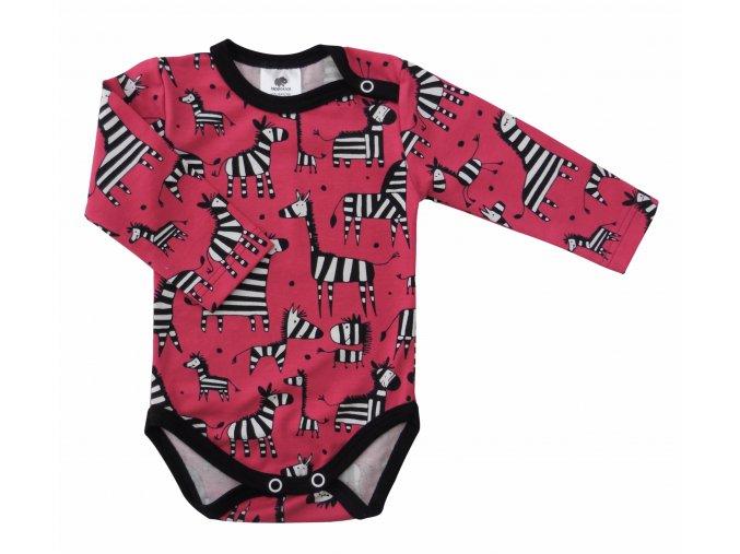 Kojenecké body Hippokids Zebra Red, oblečení pro miminka, kojenecké oblečení Zebra