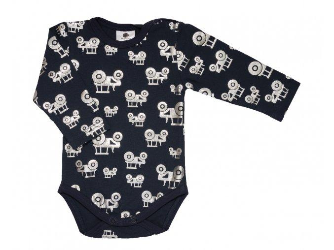 Kojeneké oblečení pro miminka, kojenecké bodyčko s motivem lesklých traktorů HIPPOKIDS