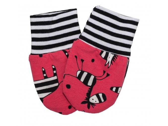 Nová kolekce oblečení pro miminka Zebra. Polodupačky, kojenecká souprava, kojenecké body, kojenecké kraťásky, kojenecké rukavičky s motivem Zebra. Kojenecká rukavičky pro miminka Zebra Red.