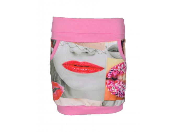 Dívčí kojenecká sukně Kiss. Hippokids holčičí sukně s motivem pusninek. Balónkový střih naši dívčí sukně Kiss s ružovým nápletem