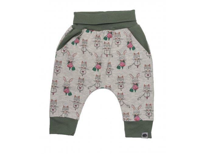 Kojenecké oblečky polodupačky tepláčky Hippokids Shopping Grey. Dětské tepláčky se zvířátky hippokids Shopping Gre