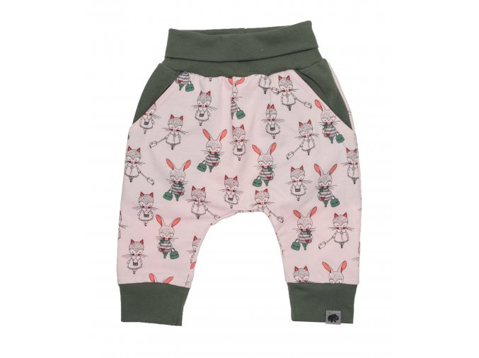 Kojenecké oblečky polodupačky tepláčky Hippokids Shopping Pink. Dětské tepláčky se zvířátky hippokids Shopping pink