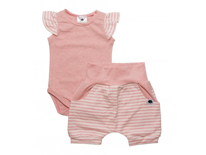 Nová kolekce oblečení pro miminka Sailor rose. Polodupačky, kojenecká souprava, kojenecké body, kojenecké kraťásky, kojenecká souprava s krátkým rukávem v námořnickém stylu. Růžovo bílá letní souprava pro miminka Sailor.