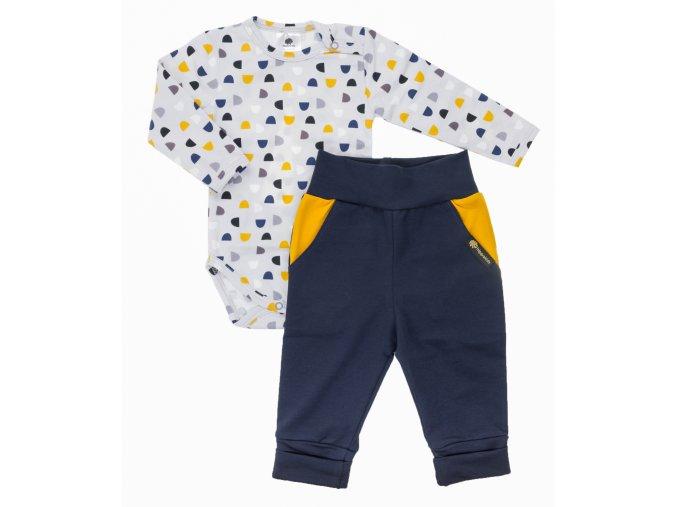 Oblečení pro miminka, kojenecký set body s dlouhým rukávem a polodupačky Hippokids Půlměsíc Grey. Soupravička pro miminka Půlměsíc Grey na šedém podkladu s barevnými půlměsíci je ideálním oblečkem pro vaše miminka.
