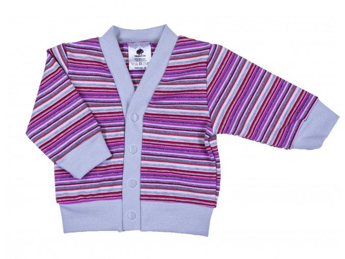 Kojenecký bavlněný kabátek pro miminka Dark Pink. Kabátek pro miminka s proužky na patentky je vyrobený z těch nejkvalitnějších českých materiálů.