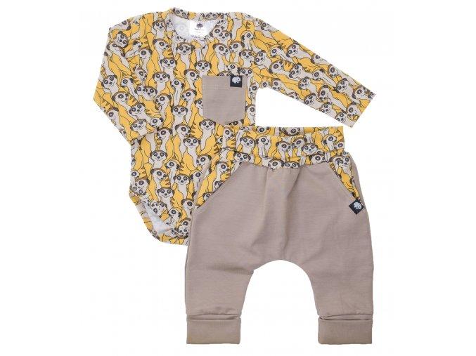 Oblečení pro miminka, kojenecká souprava Hippokids Surikata Brown. Kojenecké body s dlouhým rukávem spolu s rostoucími polodupačky s rostoucími náplety je ideálním oblečkem pro vaše batolata.