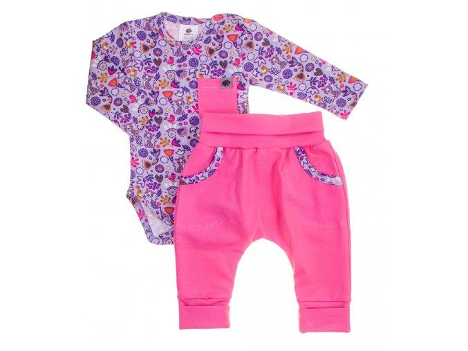 Oblečení pro miminka, kojenecký set body s dlouhým rukávem a polodupačky Hippokids Tygřík růžová. Soupravička pro miminka Tygřík s motivem barevnýh květin a tygříka je ideálním oblečkem pro vaši holčičku (1)