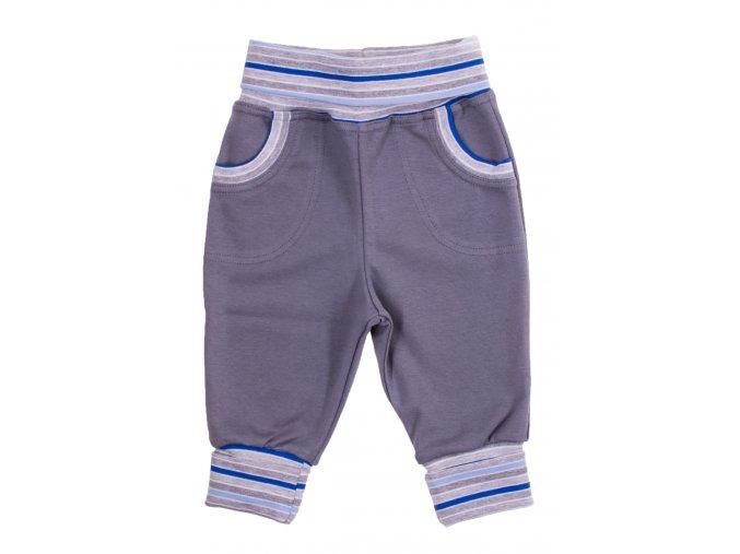 Kojenecké a dětské polodupačky Powerful modré. Ohrnovací náplety rostoucí tepláčky. Tepláčky šedé barvy s barevným proužkem v pase a na nohavicích. Klasické tepláky pro vaše miminka (1)