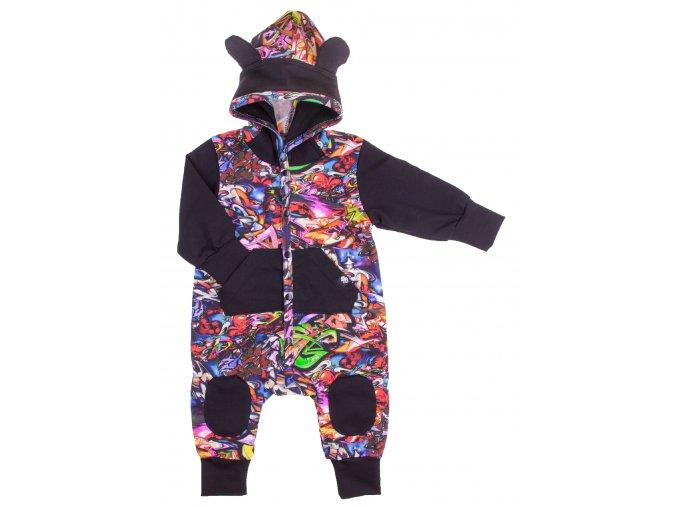 Zateplený overal Grafitt. Kojenecké a dětské overaly zateplené příjemným chloupkem. Oblečení pro miminka, kojenecké soupravy, body, tepláčky, bunda a kalhoty. Vyrobeny v Česku. Ideální na podzimní a zimní počasí.