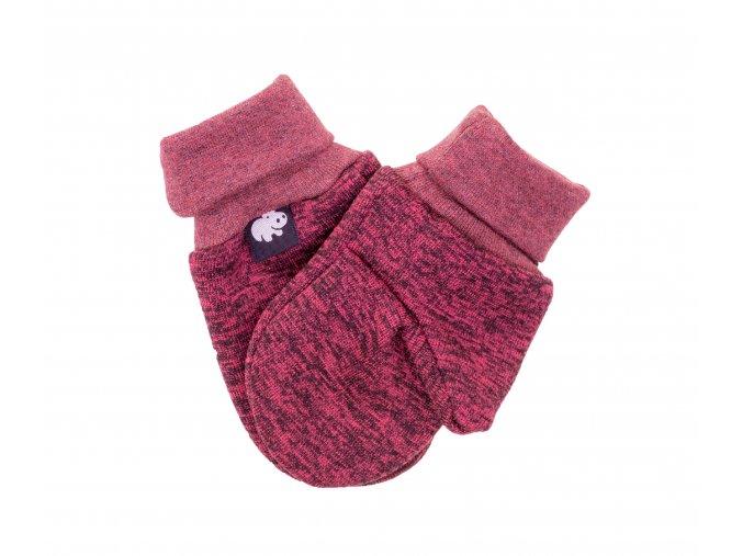 Kojenecké zateplené rukavičky Polar vínová.Oblečení pro miminka, kojenecké soupravy, body, tepláčky, bundy, polodupačky, čepice. Růžová čepice a nákrčník. Podzim zima. Vyrobeno v Česku z té nejkvalitnější bavlny.