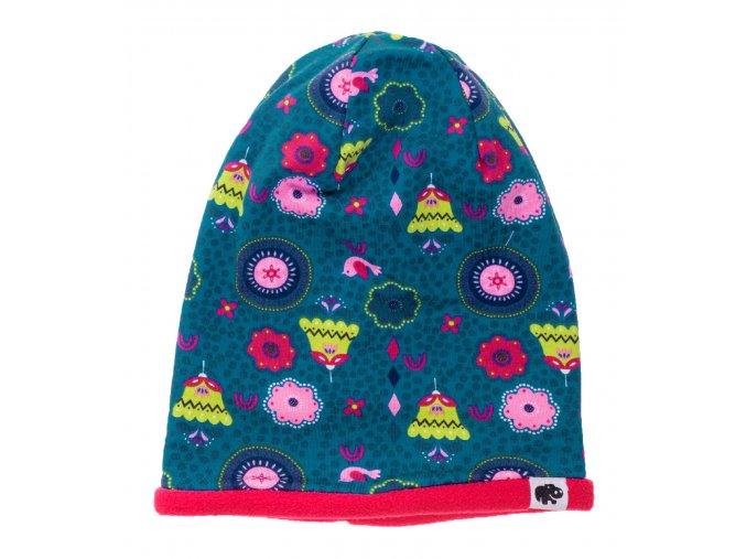 Kojenecká zateplená čepice Tulipán modrá.Oblečení pro miminka, kojenecké soupravy, body, tepláčky, bundy, polodupačky, čepice. Růžová čepice a nákrčník. Roztomilý motiv. Vyrobeno v Česku z té nejkvalitnější bavlny.