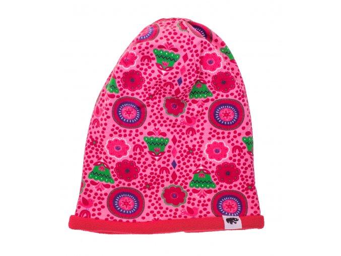 Kojenecká zateplená čepice Tulipán růžová.Oblečení pro miminka, kojenecké soupravy, body, tepláčky, bundy, polodupačky, čepice. Růžová čepice a nákrčník. Roztomilý motiv. Vyrobeno v Česku z té nejkvalitnější bavlny.