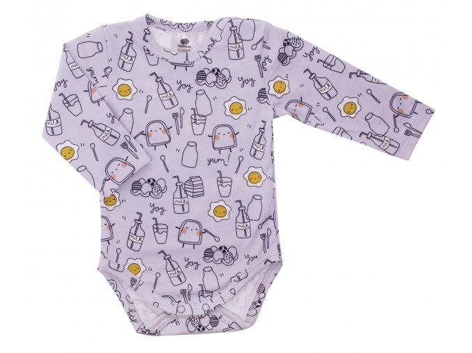 Kojenecké body s dlouhým rukávem Breakfast šedá.Oblečení pro miminka, kojenecké soupravy, body, tepláčky, bundy, polodupačky. Šedé body s druhy jídla. Roztomilý motiv. Vyrobeno v Česku z té nejkvalitnější bavlny.