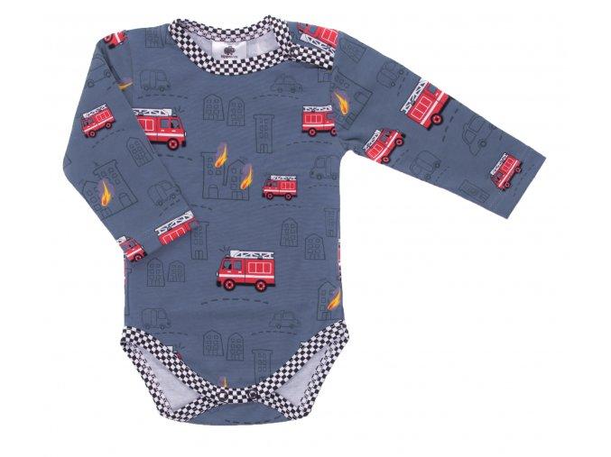 Kojenecké body Hippokids Hasiči modrá.Body s dlouhým rukávem pro děti.Kvalitní oblečení pro miminka a pro děti. Body s hasičskými auty. Česká výroba oblečení. Body,tepláčky,soupravy,kalhoty, bundy.