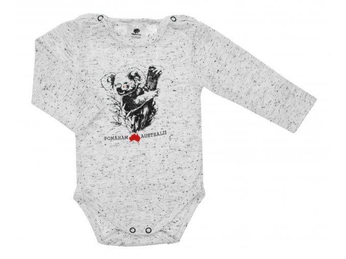 Kojenecké body s dlouhým rukávem Pomoc Austrálii. Oblečení pro miminka, kojenecké a dětské body a tričko. Kvalitní české oblečení. Koala, klokan, ptakopysk, velbloud, Austrálie. Pomoc při požárech. Bílé.