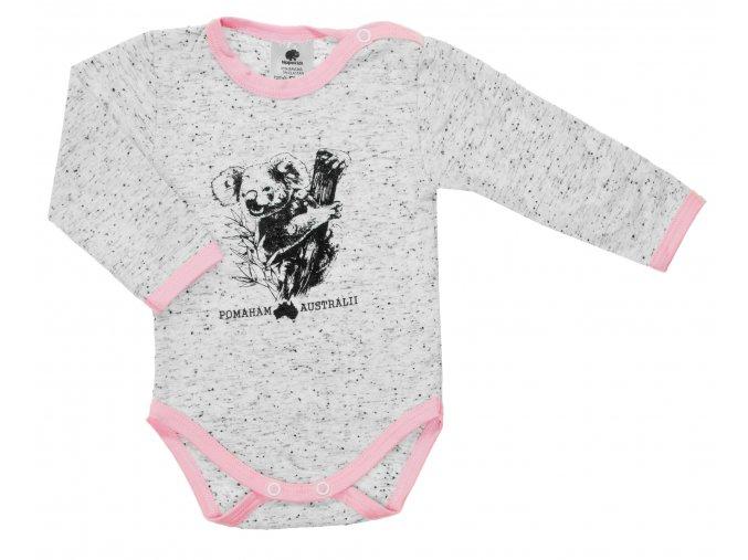 Kojenecké body s dlouhým rukávem Pomoc Austrálii. Oblečení pro miminka, kojenecké a dětské body a tričko. Kvalitní české oblečení. Koala, klokan, ptakopysk, velbloud, Austrálie. Pomoc při požárech. Růžové.
