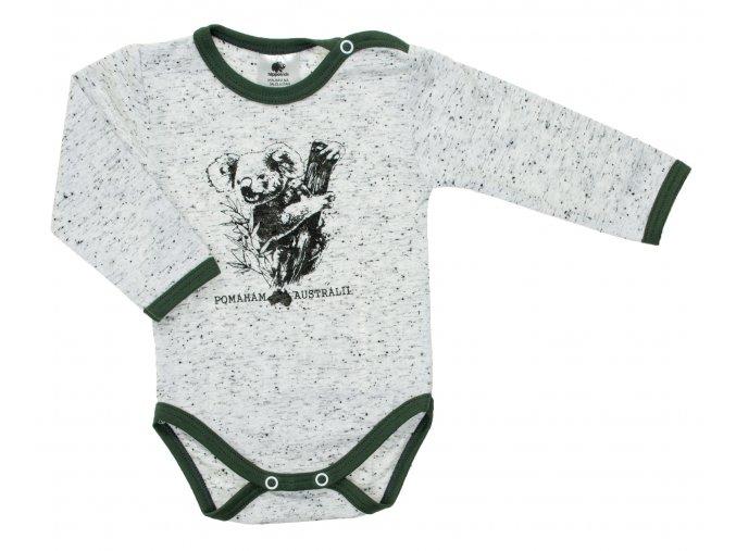 Kojenecké body s dlouhým rukávem Pomoc Austrálii. Oblečení pro miminka, kojenecké a dětské body a tričko. Kvalitní české oblečení. Koala, klokan, ptakopysk, velbloud, Austrálie. Pomoc při požárech. Zelené.