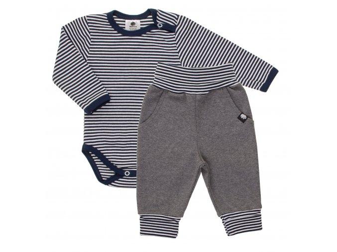 Oblečení pro miminka, kojenecká souprava Stripe. Tmavě modré proužkované body s dlouhým rukávem společně s šedými polodupačkami s rostoucími ohrnovacími náplety tvoří krásnou kombinaci soupravy.