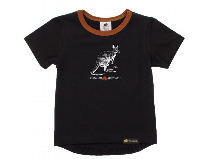 Kojenecké tričko s krátkým rukávem Pomoc Austrálii s klokanem. Oblečení pro miminka, kojenecké a dětské oblečení. klokan s mládětem. Krátký rukáv, černé tričko s hořčicovým lemem.