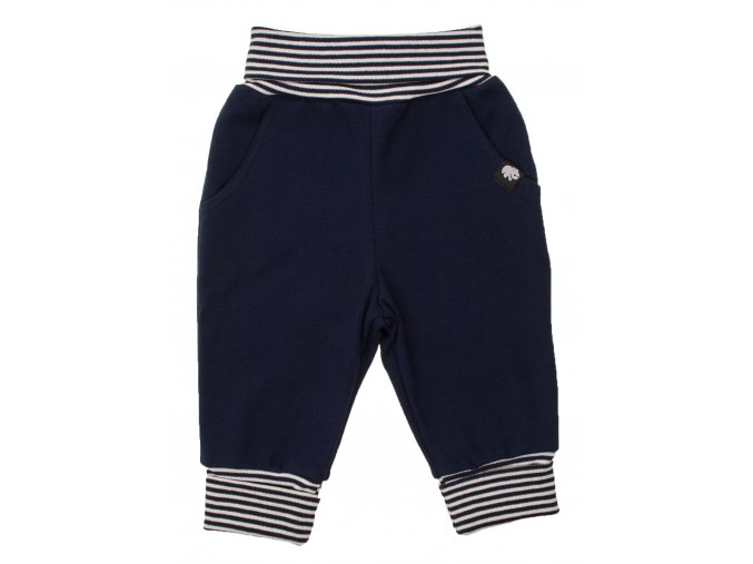 Oblečení pro miminka, kojenecké polodupačky Stripe. Tmavě modré proužkované body s dlouhým rukávem společně s šedými polodupačkami s rostoucími ohrnovacími náplety tvoří krásnou kombinaci soupravy. Tepláčky.