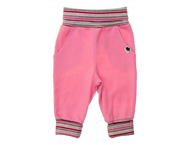 Oblečení pro miminka, kojenecké polodupačky Stripe růžové. Růžové polodupačky s rostoucím ohrnovacím pruhovaným nápletem tvoří krásnou kombinaci. Tepláčky pro miminka.