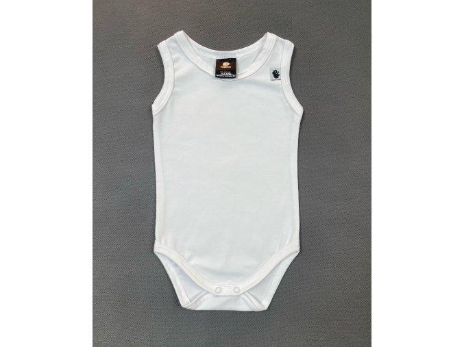 Kojenecké body tílko. Jednobarevné bílé tílko pro miminka. Oblečenní pro miminka, dětské a kojenecké oblečení. Jednobarevé spodní tílko ideální na horké letní dny. Zapnínání na patentky.