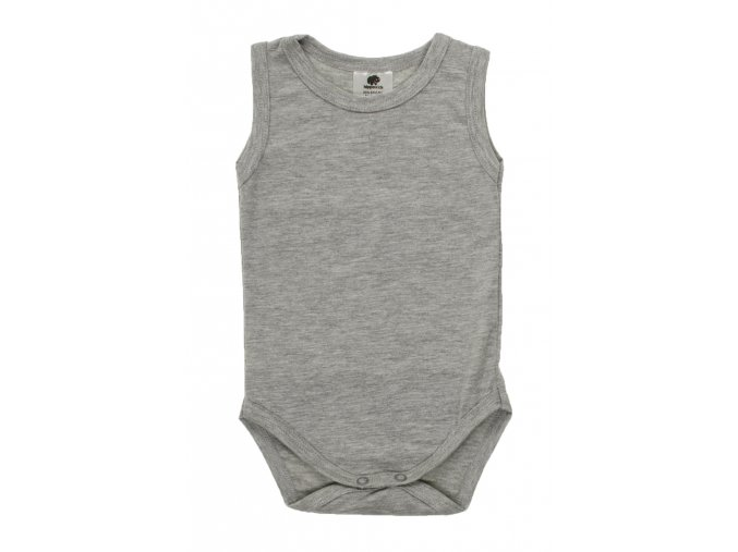 Kojenecké body tílko. Jednobarevné šedé tílko pro miminka. Oblečenní pro miminka, dětské a kojenecké oblečení. Jednobarevé spodní tílko ideální na horké letní dny. Zapnínání na patentky.
